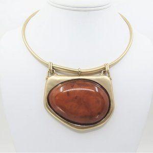 Chico's Faux Jasper Gold Tone Wire Collar Necklace